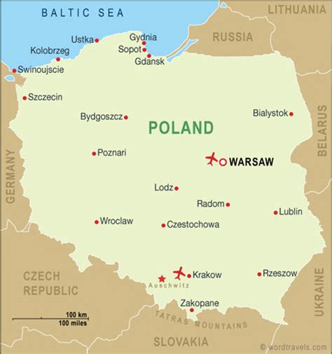 printable map of zakopane poland map poland travel maps from word travels