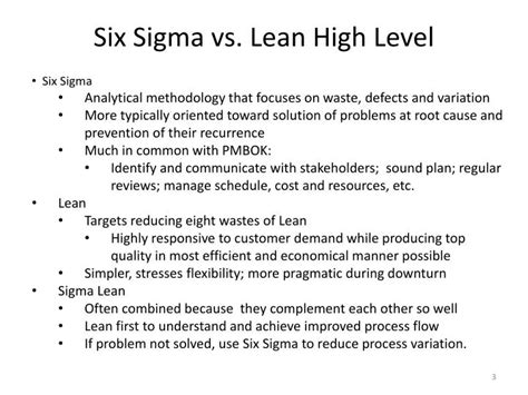 Pmp Vs Mba Vs Six Sigma by Ppt Six Sigma And Lean Vs Pmbok Powerpoint Presentation