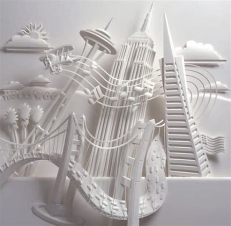 Make A 3d Paper City - paper in a play with light and shadow makes 3d sculptures