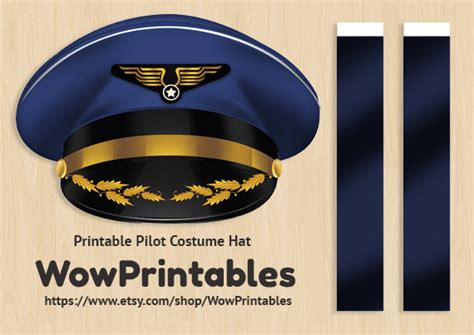 pilot costume hat printable download easy to make black