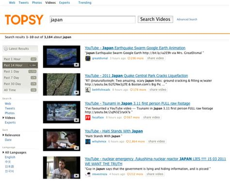 latest gadgets movie search engine at search com topsy launches real time video search engine