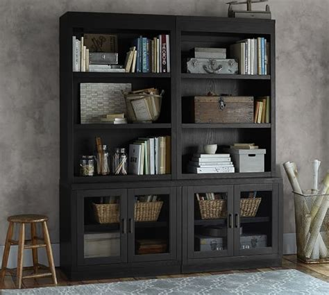 pottery barn bookcase open bookcase with glass door cabinets pottery barn
