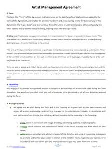 Artist Management Agreement Template by Contracts