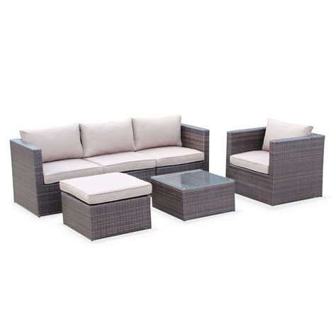 brown rattan sofa set benito rattan and aluminium 5 seater chocolate brown