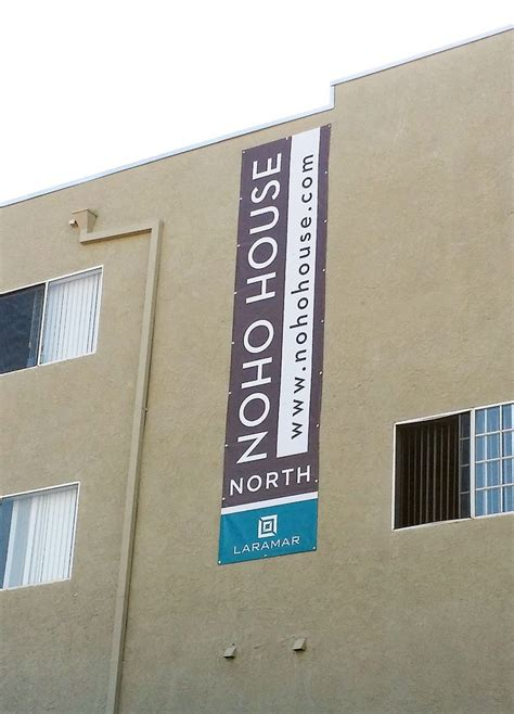 design banner office vertical banner high on building designed fabricated