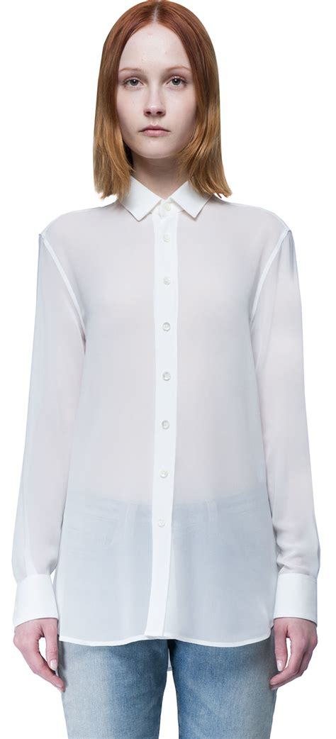 Plaid Longline Wood Button Shirt laurent classic sleeves shirt in white lyst