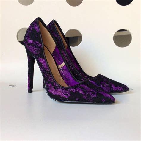 shoe dazzle shoes purple  black lace pointy toe heels pumps poshmark