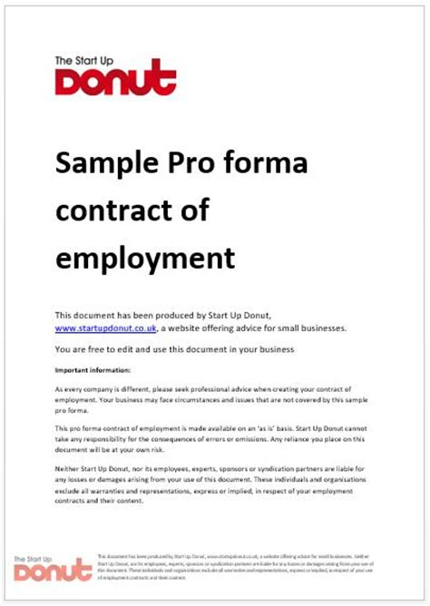 sle proforma employment contract start up donut