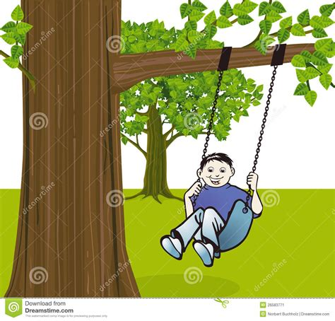 swinging from a tree boy swinging from tree stock image image 26583771