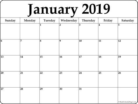 printable calendar january 2019 january 2019 free printable blank calendar collection