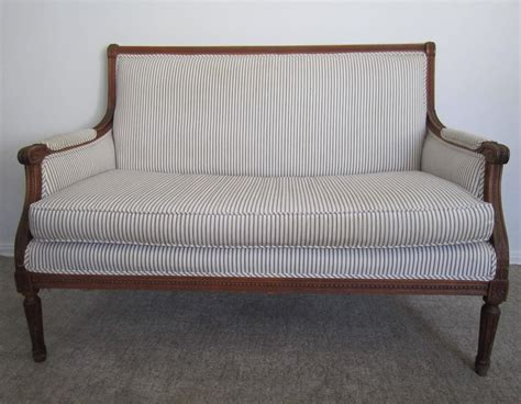 sale settees antique french louis xvi style blue and white upholstered