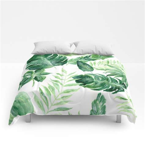 white comforter with green leaves tropical leaf comforter green white comforter leaf full