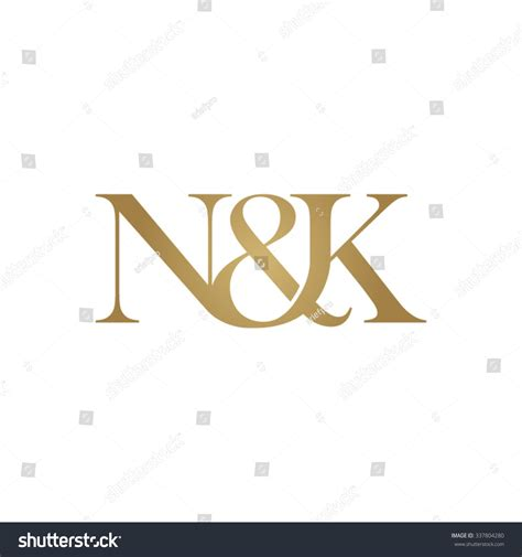 K K N nk initial logo ersand monogram golden stock vector