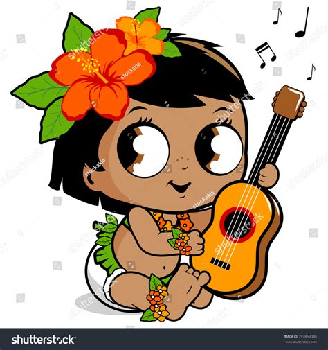 Cartoon Themes Ukulele | vector illustration of a cute hawaiian baby with a grass