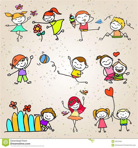 imagenes infantiles de niños jugando a color el jugar feliz de los ni 241 os de la historieta del dibujo de