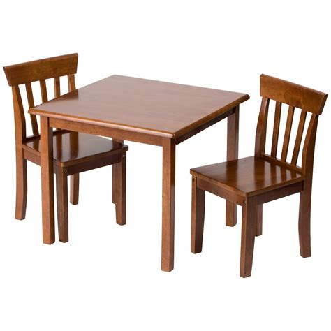 childrens table chair sets furniture room square top brown varnished mahogany
