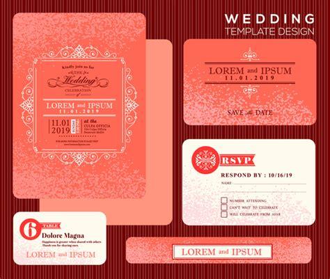 Wedding Card Design Cdr Format by Editable Wedding Invitations Free Vector 3 767
