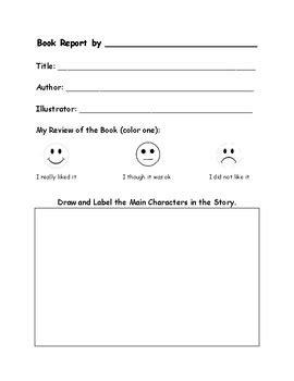 Kindergarten Book Report Form By Katherine Eccleston Tpt Book Report Template Kindergarten