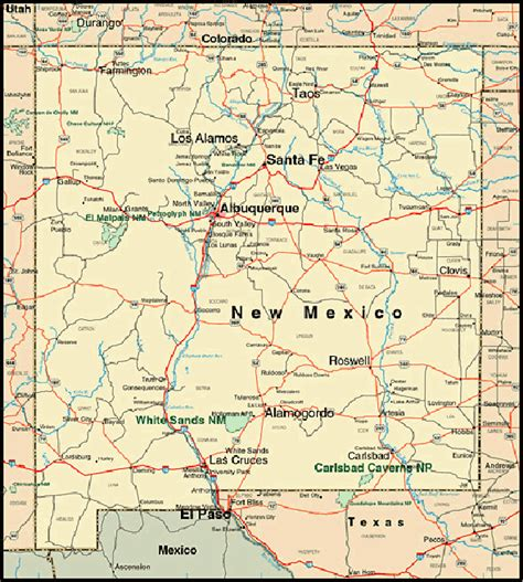 nm map new mexico map vacation idea