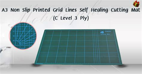 Mat Level 3 by A3 Non Slip Printed Grid Lines Self Healing Cutting
