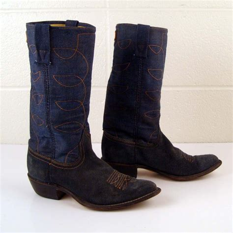 denim cowboy boots vintage 1970s denim acme blue suede