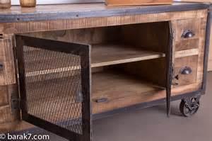 meuble tv industriel 4 tiroirs finition antique barak 7