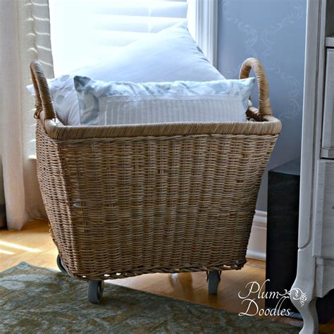 large basket for storing throw pillows diy wicker basket with wheels plum doodles