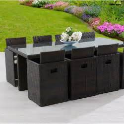 salon de jardin encastrable r 233 sine tress 233 e marron 1 table
