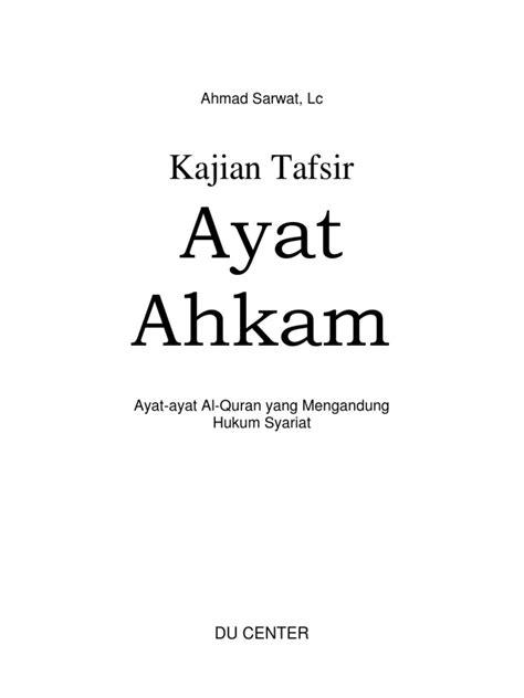 Tafsir Ayat Ahkam Tafsir Tematik Ayat Ayat Hukum Kadar M Yusuf kajian tafsir ayat ahkam