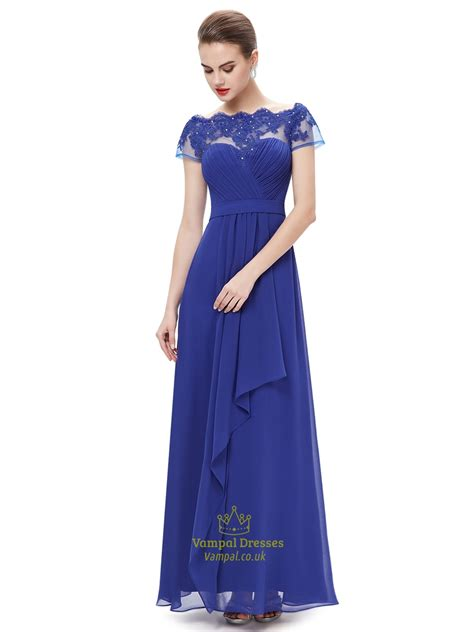 boat neck wedding dress royal royal blue boat neck chiffon appliqued prom dress with