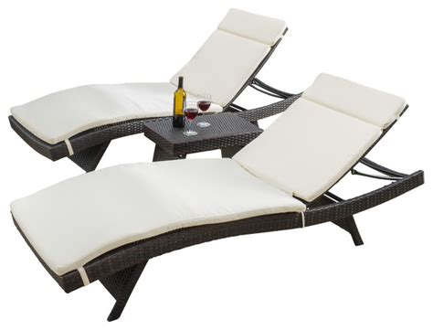 chaise lounge chair outdoor lakeport outdoor 3pc colored adjustable chaise lounge