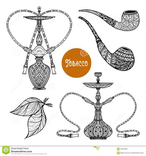 doodle tobacco doodle smoke set stock vector image 59440961