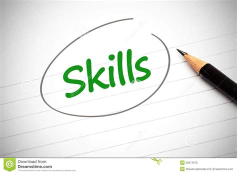 Skill With skills word written in green on a notepad stock photos image 32511973