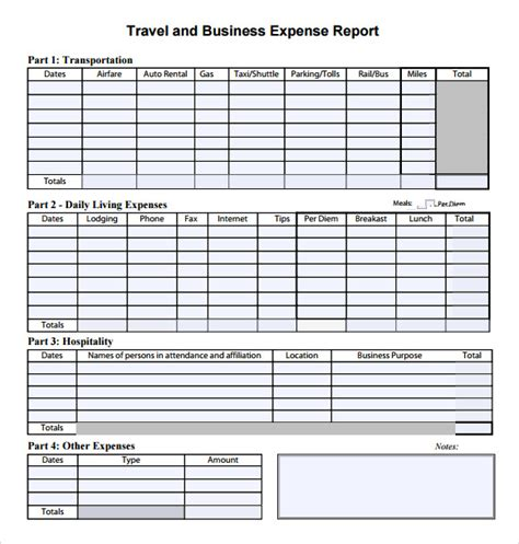 travel expense report template 7 expense report templates free sles exles