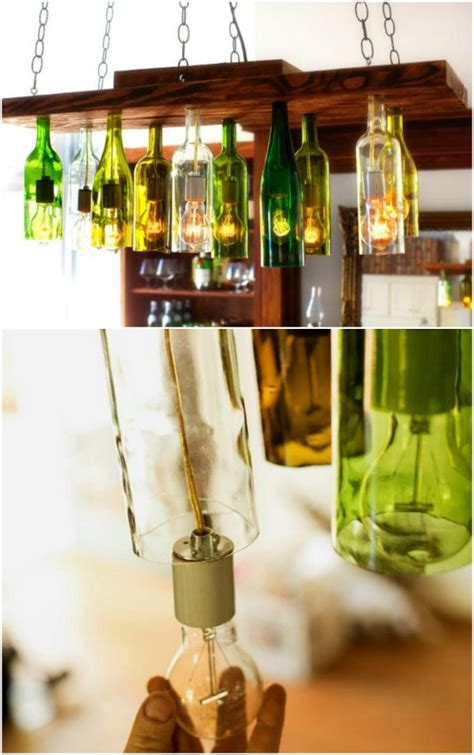 Diy Bottle Chandelier 50 Brilliant Repurposing Ideas To Turn Kitchen Items Into Exciting New Things Diy Crafts