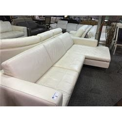 cream leather chaise lounge cream leather sofa with chaise able auctions