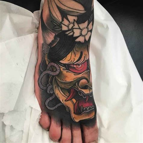 hannya foot tattoo best tattoo ideas gallery