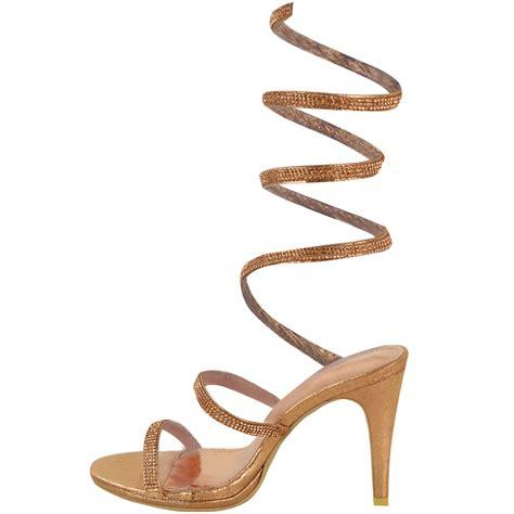 gladiator sandals size 8 womens high heel diamante spiral sandals gladiator