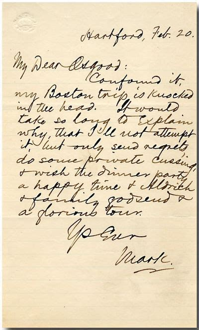 dear samuel clemens message in a bottle books autograph letter signed quot quot to r osgood by