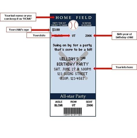Free Place Card Sport Ticket Template by 8 Best Images Of Baseball Birthday Invitations Free