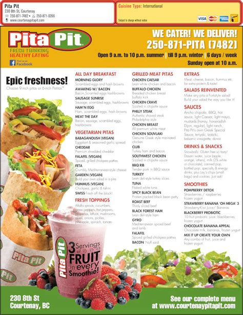 pita pit menu prices 230 8th st courtenay bc