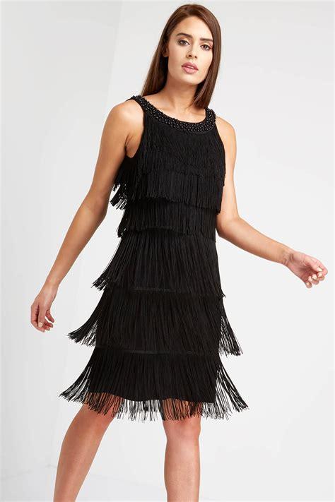embellished fringe flapper dress  black roman originals uk
