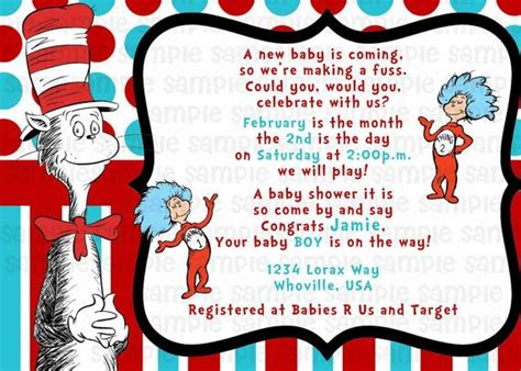 Cat In The Hat Baby Shower Invitations by Dr Seuss Cat In The Hat Baby Shower Invitation By