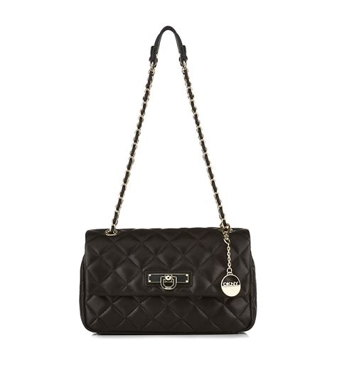Dkny Quilted by Dkny Quilted Nappa Shoulder Bag In Black Gold Lyst