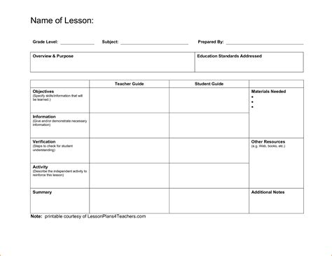 printable lesson plan template for first grade blank lesson plan template for first grade common core