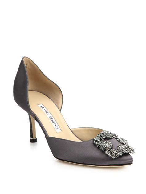 Manolo Blahnik Poppy Heels by Lyst Manolo Blahnik Hangisido Jeweled Satin Pumps In Gray