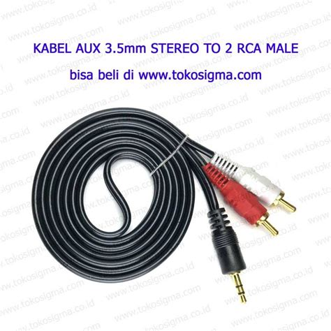 kabel aux 3 5mm stereo to 2 rca gold plate toko sigma