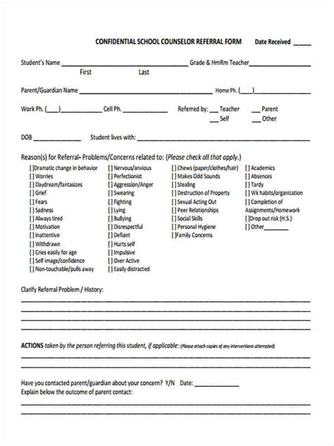 counselling referral form template 8 counseling referral forms free sle exle format