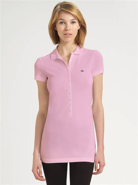 lyst lacoste piqu 233 polo tunic in pink