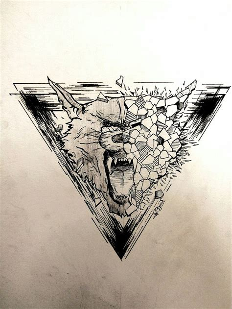 wolf wolftattoo tattoo triangle design mad pyro